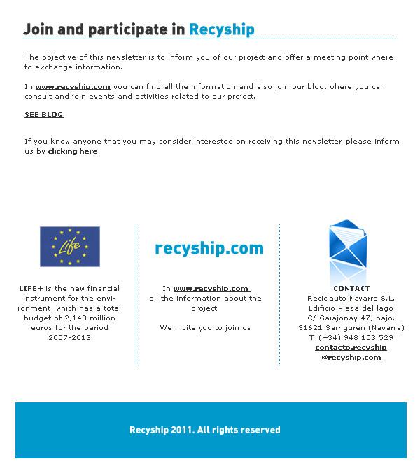 Newsletter Recyship
